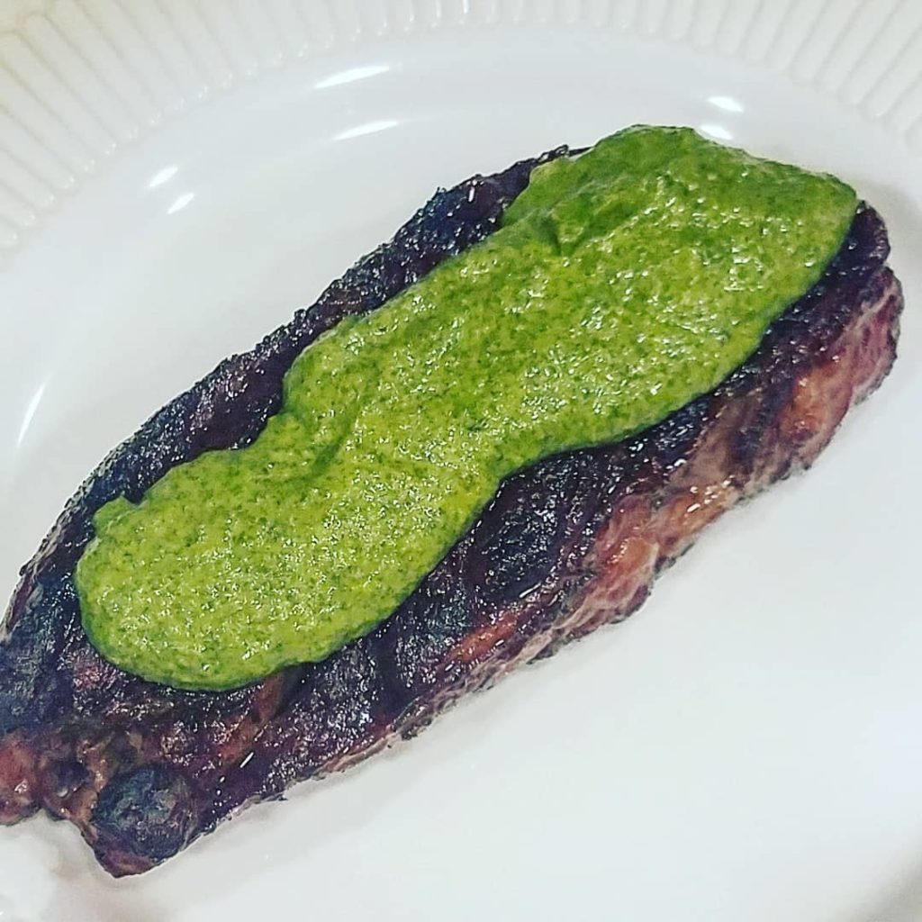 Chuck Eye Steaks with Jalapeno Chimichurri Sauce
